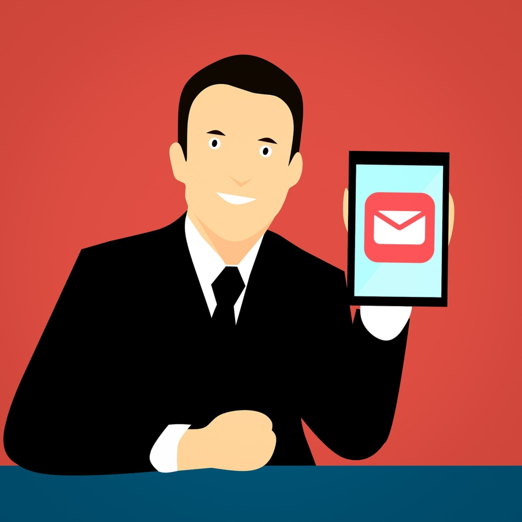Gentleman holding a table for email marketing.