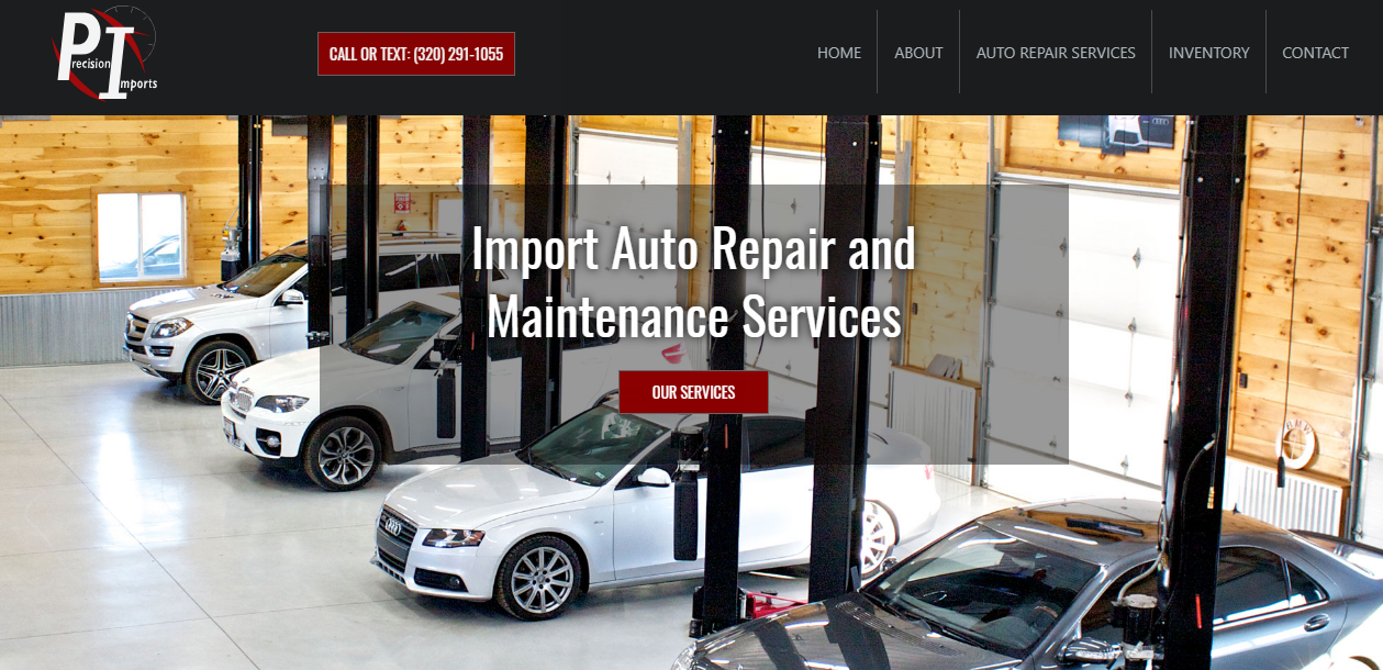 Screenshot of the Precision Imports website.