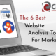 Cover image for 6 Best Website Analysis Tools For Marketing showing title and laptop computer with graphics appearing on screen.